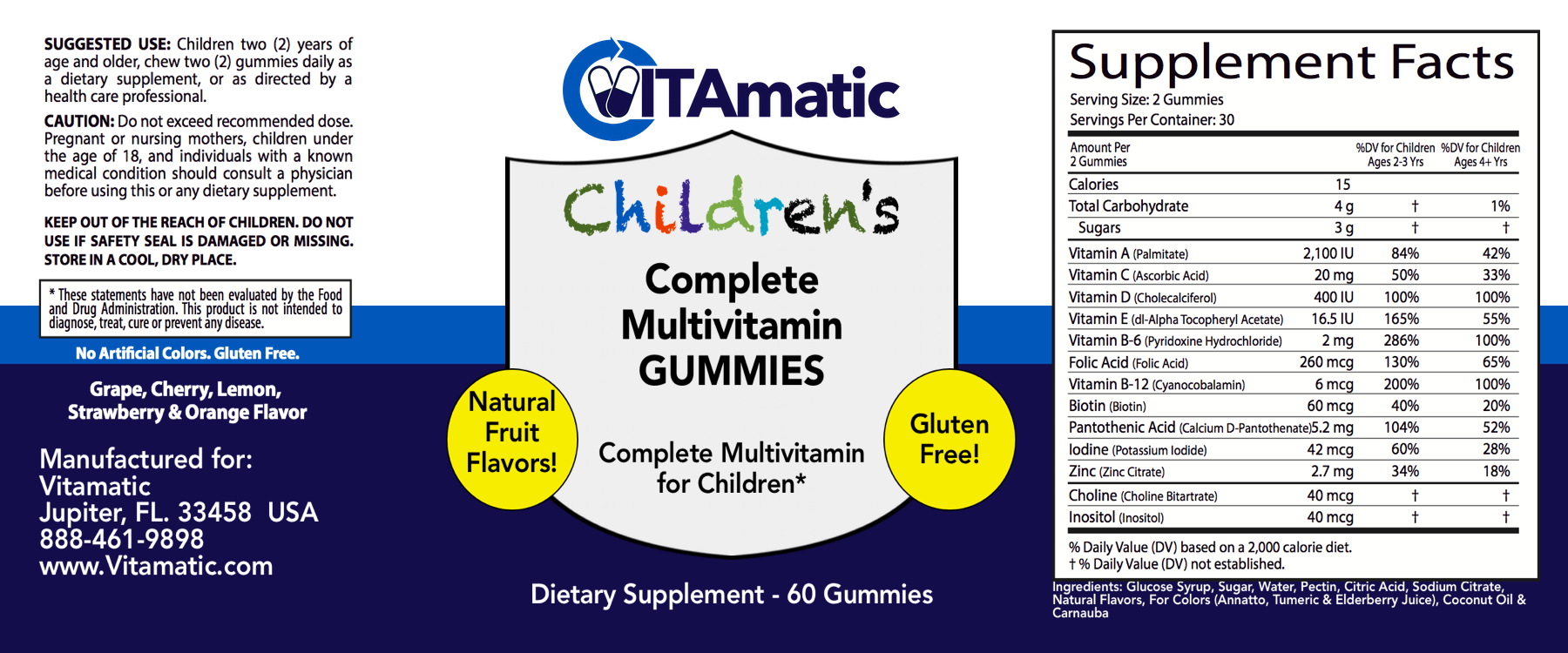 vitamatic childrens multivitamin gummy label
