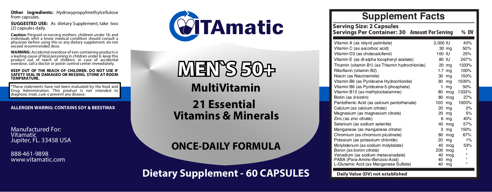 vitamatic mens 50 plus multivitamin