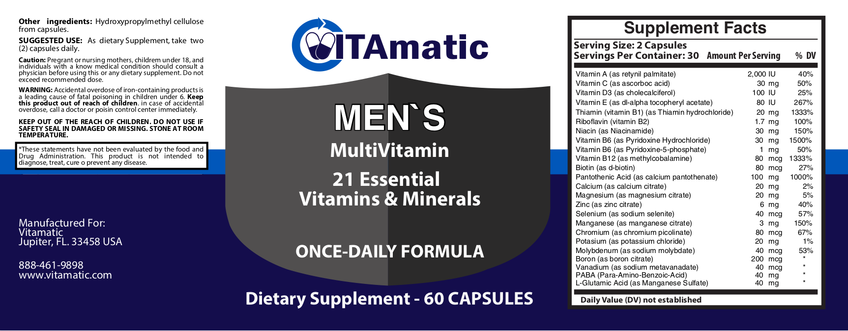 vitamatic mens multivitamin label