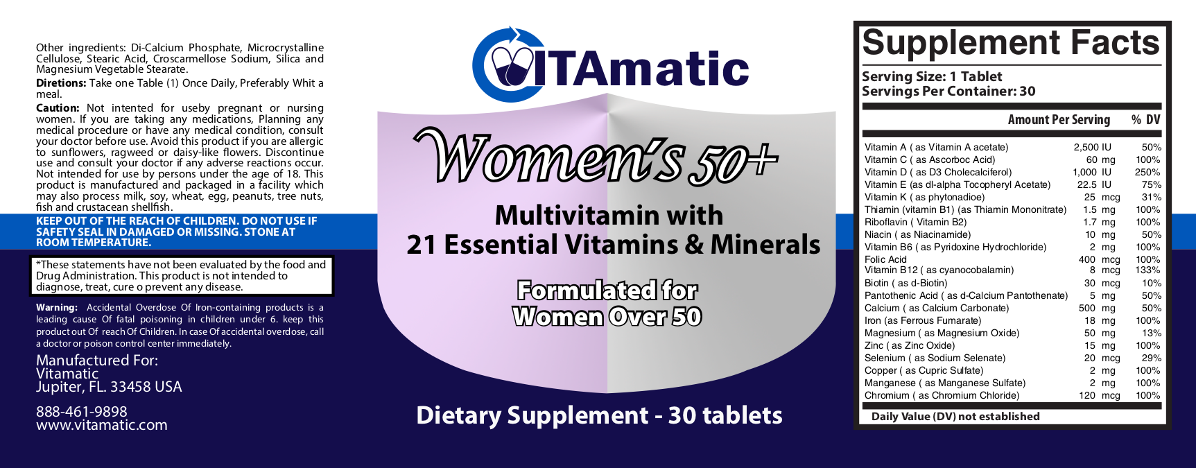 Vitamatic womens 50 plus multivitamin label