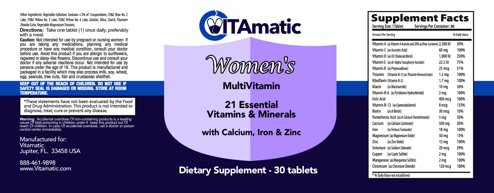 vitamatic womens multivitamin label